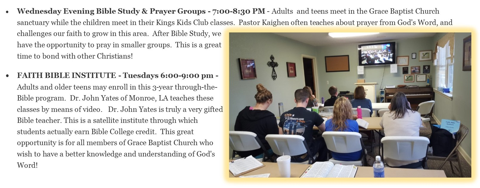 Bible College, Bible Study